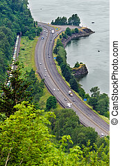Highway by the Columbia River - Interstate 84 running...