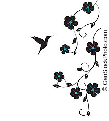 Hummingbird - vector floral card with hummingbird