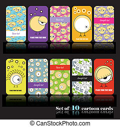 Set of ten cartoon cards - vector set