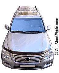 SUV on white background - big SUV frontally on white...