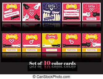ten cards with motley cats in love - vector set