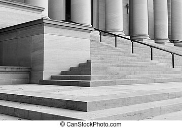 Pillars and Stairs leading up to a door