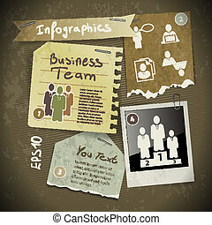 set of infographics from torn pieces of paper in vintage style scrapbooking with photo Polaroid