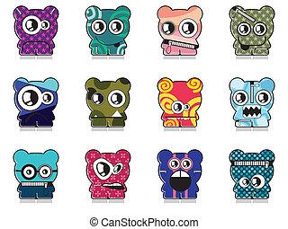 Set of twelve monsters - vector set
