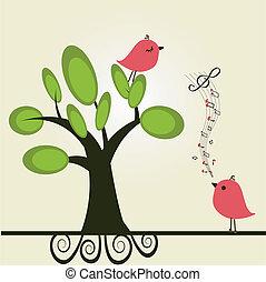Vector cute floral spring birds illustration