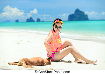 A portrait of beautiful asian woman on relaxing the beach...