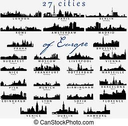 détaillé, silhouettes, européen, villes