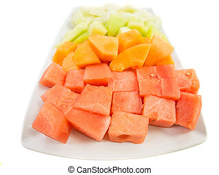 Cube Sized Melons And Honeydew - Bite size melons and...