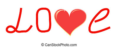 Image of a word Love and red heart.