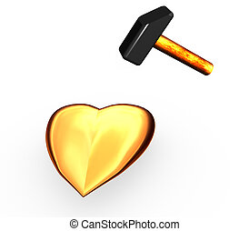 Gold heart on which strike a hammer.