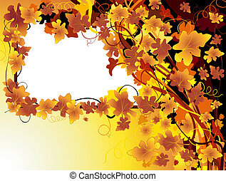 autumnal background with grape vine