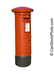 red post box - Traditional red british mail pillar box