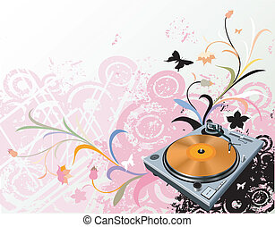 turntable and flowers - turntable on floral grunge...