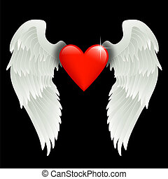 heart with angel wings - shiny red heart with angel wings