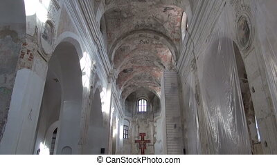 old church interior restoration work