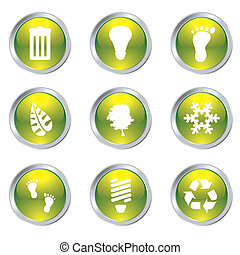 eco gel icons - Ecology set of nine icons with silver bevel...