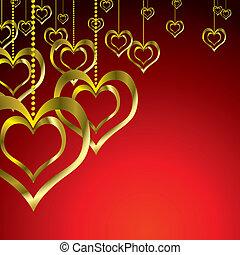 gold love heart hang