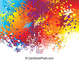 ink splat rainbow bottom - Rainbow background with ink splat...
