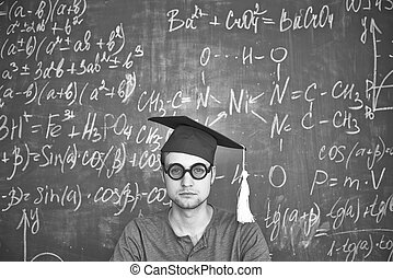 Serious student - Black-and-white image of student in...