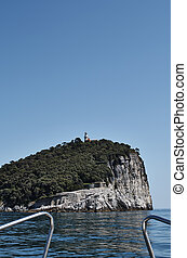 island of tino see from a boat