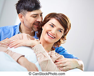 Happiness - Portrait of joyful couple enjoying being...