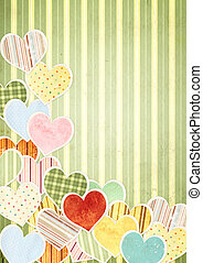 Valentine background with paper hearts