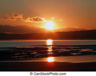 Sunset at Swansea beach