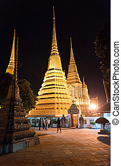 Wat Pho, Buddhist temple at night , Bangkok, Thailand