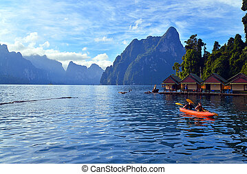 Kayaking on Cheo Lan lake. Khao Sok National Park. Thailand.