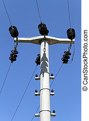 Electrical wire - Electrical power wire and blue sky