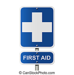 First Aid Sign - An American road sign isolated on white and...