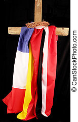 flags - Three flags with a wood cross and a crown of thorns...