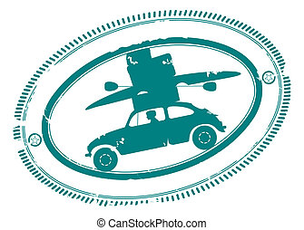 Trip - Rubber stamp with car going on holidays