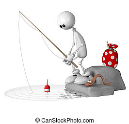The 3D little man on fishing. - The white little man a...