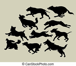Dog Running Silhouettes. - Dog running concept. Very cool to...