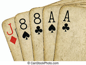 Close up of aces and eights, the dead mans hand.