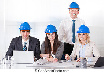 Architect Working On Project - Group Of Architect People...