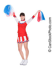 Cheerleader Holding Pom-pom - Happy Cheerleader Holding...