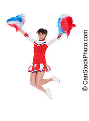 Cheerleader Jumping With Pom-pom - Happy Cheerleader Jumping...
