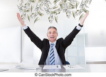 Mature Businessman Raising Arms - Happy Mature Businessman...