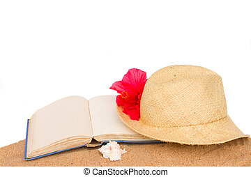 straw hat ans book on sand - straw hat and book on sand...