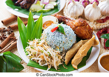 Nasi kerabu or nasi ulam, popular Malaysian Malay rice dish....