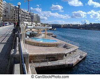 cidade,  Valletta,  Malta,  Skyline, vista