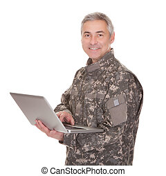 Mature Soldier Holding Laptop Isolated On White Background