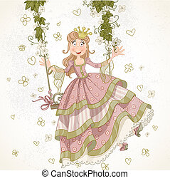 Cute princess swinging on a swing drawing in vintage style