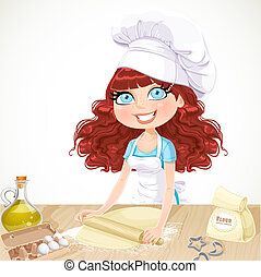 Cute girl baking cookies isolated on white background