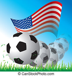Flag of United States with ball vector