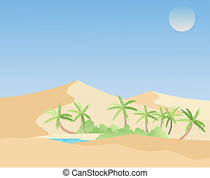 mirage - an illustration of a beautiful oasis in a hot...