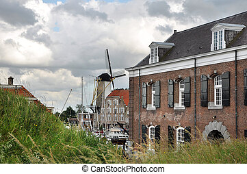 View at Willemstad - The port, mill and the ancient arsenal...