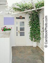 The front door and window with flowers.
